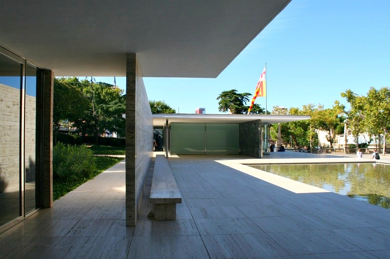 Barcelona Pavilion from Visitors Center, Catalan flag overhead