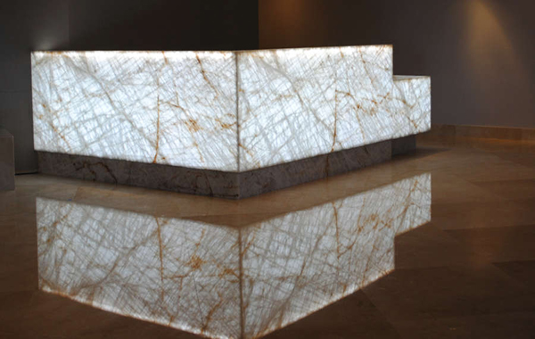 Lumiron's Dakota LED light panel used to backlight stone.