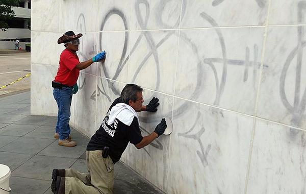 Restoring a white marble facade