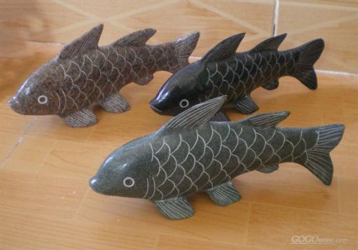 Granite fish carvings